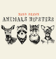 hand drawn animals hipsters set in vintage style vector image