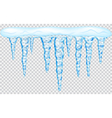 Hanging translucent icicles with snow vector image vector image