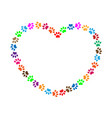 heart frame of multicolored animal paw prints vector image vector image