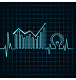 heartbeat make business graph and light-bulb vector image vector image