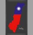hualian taiwan map with taiwanese national flag vector image vector image