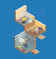 isometric interior repairs concept flat 3d vector image vector image