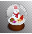 Isometric Merry christmas transparent glass ball vector image vector image