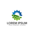 leaf sun gear logo energy industrial logo design vector image