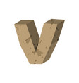 letter v stone font rock alphabet symbol stones vector image vector image