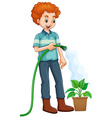 Man watering the plant vector image vector image