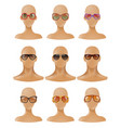 mannequins heads display sunglasses realistic set vector image
