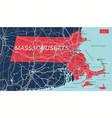massachusetts state detailed editable map vector image vector image