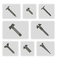 monochrome icons with screws vector image vector image