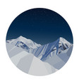 night mountains low poly in a circle vector image vector image