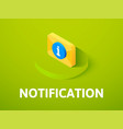 notification isometric icon isolated on color vector image vector image