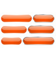 orange glass 3d buttons oval icons set vector image vector image