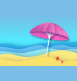 pink parasol in paper cut style origami empty sea vector image