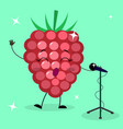 raspberry smiley sings into the microphone vector image vector image