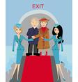 seniors passengers on the plane vector image