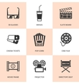 Set of black cinema icons vector image