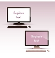set of contemporary computers with keyboard vector image