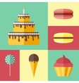 Set of flat icons with different sweets vector image vector image