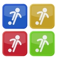 set of four square icons - football soccer player vector image vector image