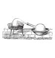 Simple Distillation Apparatus engraving vector image