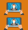 video player app on tablet screen and man vector image vector image