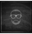 vintage chalk of male head with sunglasses on vector image