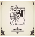 Vintage christmas card Santa by the fireplace vector image vector image