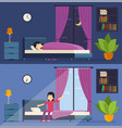 woman sleeps in bed at night and wakes up in the vector image