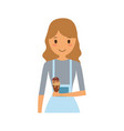 woman with ice cream vector image