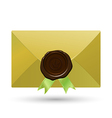 Envelope with seal and green ribbons vector image