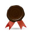 red wax seal with crown ribbons vector image