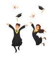 man and woman graduates vector image