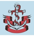 anchor with ribbon and rope vector image vector image