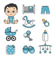 baby boy and baby icons vector image