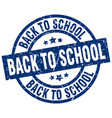 back to school blue round grunge stamp vector image vector image