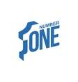 blue and white number one diagonal logo template vector image vector image
