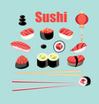 bright set sushi and rolls with fish vector image vector image