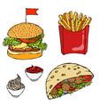 burger french fries ketchup falafel pita or vector image vector image