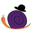 cute cartoon a purple snail with a black hat vector image