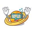 diving planet saturnus character cartoon vector image vector image