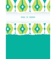 Emerald green ikat diamonds frame torn seamless vector image