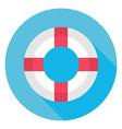 flat sea lifebuoy circle icon with long shadow vector image