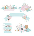 floral doodles leaves branches flowers ribbons vector image vector image