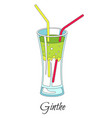gin and tonic cocktail isolated icon bar menu vector image