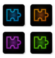glowing neon piece puzzle icon isolated on vector image vector image