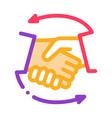 handshake icon outline vector image