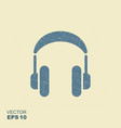 headphones icon with scuffed effect vector image