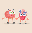 heart and brain being friends cartoon vector image