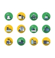 Industrial buildings round color icons vector image vector image