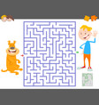 maze game with cartoon boy and his dog vector image vector image